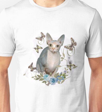 Sphynx Cat and Butterflies Unisex T-Shirt