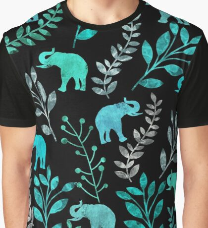 Floral and Elephant IV Graphic T-Shirt
