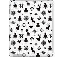 Pixel Pattern - Winter Forest - Black and White iPad Case/Skin