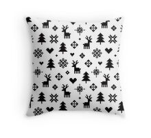 Pixel Pattern - Winter Forest - Black and White Throw Pillow