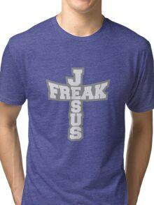 grau form freak text schriftzug jesus kreuz leben glauben christus cool logo design  Tri-blend T-Shirt