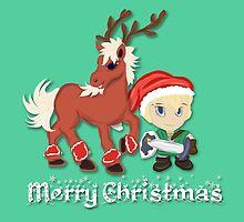 Zelda Christmas Card: Link and Epona by Alice Edwards