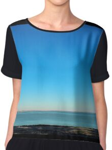 View of the sea and the horizon with the coastline Chiffon Top