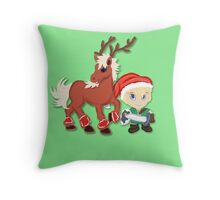 Zelda Christmas Card: Link and Epona Throw Pillow