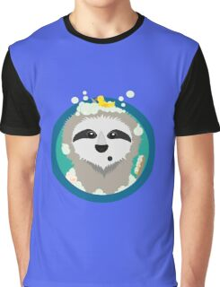 Bathing Sloth with bubbles Graphic T-Shirt
