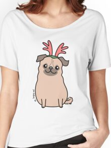 Pug Wearing Reindeer Antlers Women's Relaxed Fit T-Shirt