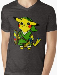Pikalink Mens V-Neck T-Shirt