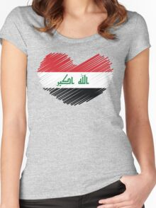 Iraq Flag Heart Women's Fitted Scoop T-Shirt