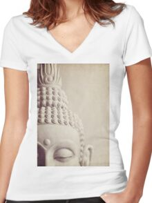 Cropped Stone Buddha Head Statue. Women's Fitted V-Neck T-Shirt