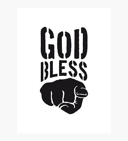 god bless you finger zeigen hand lustig gott jesus logo design  Photographic Print