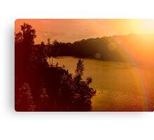 Zakrzowek lake and quarry in Krakow. Panorama photo of a beautiful summer rock landscape. Hazy sun. Happy people silhouette Canvas Print