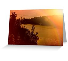 Zakrzowek lake and quarry in Krakow. Panorama photo of a beautiful summer rock landscape. Hazy sun. Happy people silhouette Greeting Card