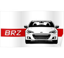 Subaru BRZ Front end with red stripe Poster