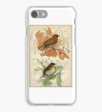 Jemima Blackburn, Redbreasts; one mature Robin with red breast perched on a beech twig, the other bird below, a young Robin iPhone Case/Skin
