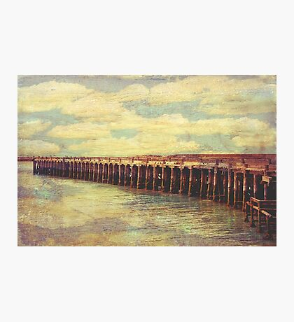Vintage textured historic Sumpter Wharf, Oamaru Photographic Print