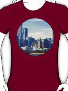 Chicago IL - Chicago Skyline and Navy Pier T-Shirt