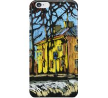 Snowy landscape with yellow house iPhone Case/Skin