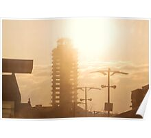 The abandoned skyscraper. Sunrise over the city Poster