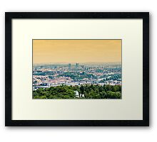Cityscape of Prague. Panoramic view of Prague during summer day at sunset with yellow sky. Beautiful colors Framed Print