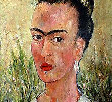Frida Kahlo thinking about Diegos demise by Doria Fochi