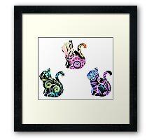Tie Dye Cute Kitties Pack(Black option) Framed Print