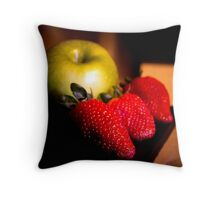 A green apple and three strawberries Throw Pillow