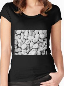 White stones with black spots Women's Fitted Scoop T-Shirt