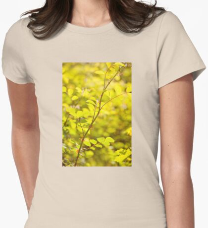 Wild roses prickles on twig Womens Fitted T-Shirt