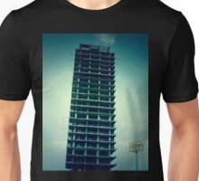 """Old unfinished building called """"Skeleton"""". Yellow sign with the words """"Do not enter!"""". Urban exploration photo Unisex T-Shirt"""