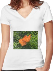 Backlit Autumn Leaf Women's Fitted V-Neck T-Shirt