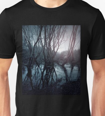 Gloomy swamp. Reflection of trees in water. Sunset landscape Unisex T-Shirt