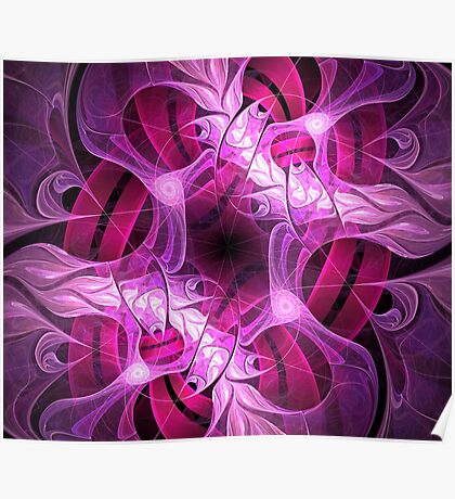 pink flames and ribbons Poster