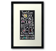 Lorde Songs Framed Print