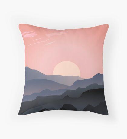 Beautiful Pink Sunset Mountain Silhouettes Illustration Throw Pillow