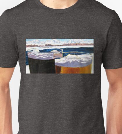 Beer Art Print of Pint Glasses and Alaska Mountains, Alaska Painting, Alaska Beer Gifts, Alaska Beer Wedding Gifts, Anniversary Beer Gifts Unisex T-Shirt
