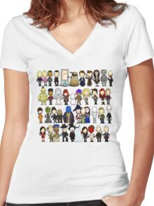 Doctor Who all together now Women's Fitted V-Neck T-Shirt
