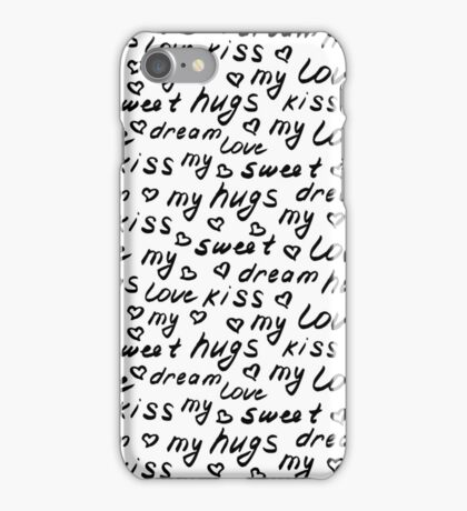 Love lettering seamless pattern, hand drawn calligraphy wallpaper.  iPhone Case/Skin