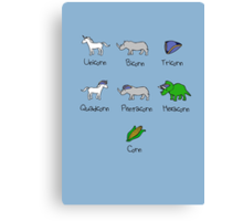 Unicorn, Bicorn, Tricorn, Quadcorn, Pentacorn, Hexacorn ... and Corn Canvas Print