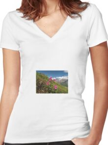 Summer in Glacier NP Women's Fitted V-Neck T-Shirt