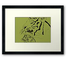 Mother Tiger and Cub - Green Framed Print