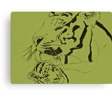 Mother Tiger and Cub - Green Canvas Print