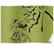 Mother Tiger and Cub - Green Poster
