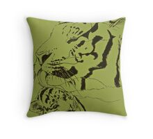 Mother Tiger and Cub - Green Throw Pillow