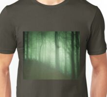 Dark green forest with a mysterious mist Unisex T-Shirt