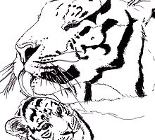 Mother Tiger and Cub - White by sjdp92