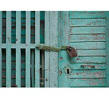 Weathered Tourquise Door Photographic Print