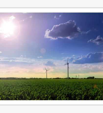 Landscape of windmill farm with a beautiful sunny blue sky Sticker