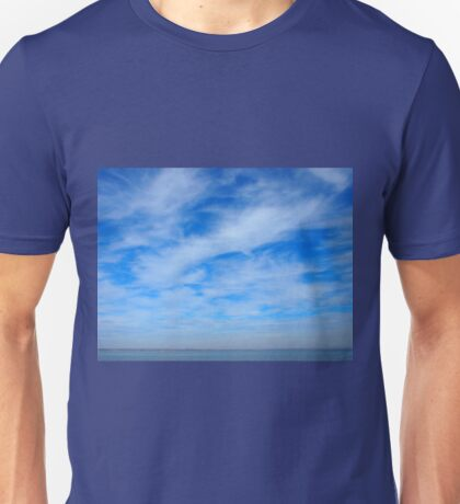 Panorama of the sky over the lake of white cirrus clouds Unisex T-Shirt