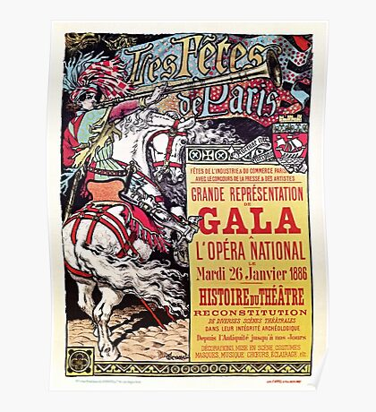 French National Opera medieval style vintage gala ad Poster