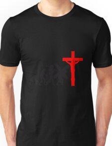 evolution mensch jesus christus glauben kreuz kreuzigung lustig hängen  Unisex T-Shirt